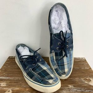 SPERRY blue plaid boat shoes